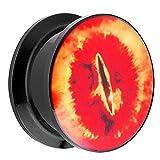 Piersando Ohr Plug Piercing Kunststoff Motiv Comic Picture Flesh Tunnel Ohrplug mit Feuer Auge Drachen Schwarz Rot 20mm