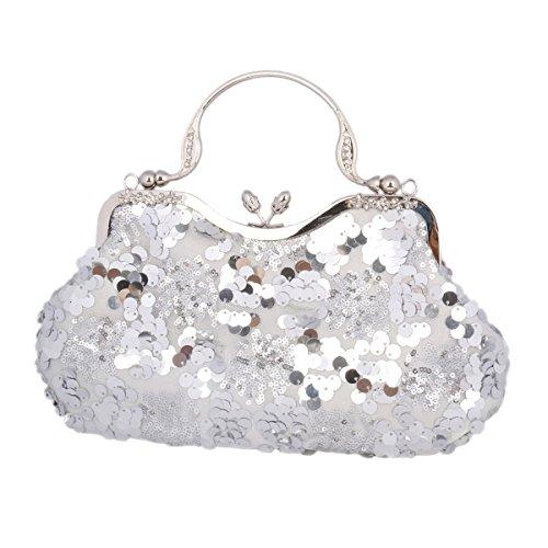 Adoptfade Damen Abendtasche Clutch Elegant Archaistisch Mit Pailletten, Silber