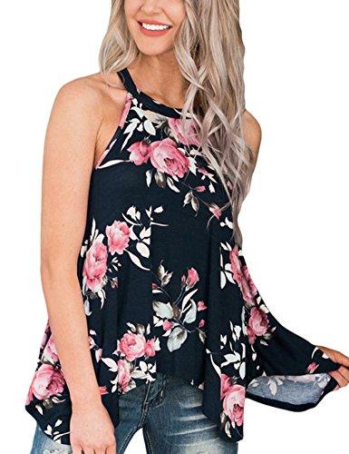 EULLA Damen Tops Sommer Ärmellos Blusen Locker Oberteile für Frauen Blumenmuster Tank Sexy Flowy Rundhals Beiläufig Tunika Blumen Asymmetrisch(Schwarz,3XL)