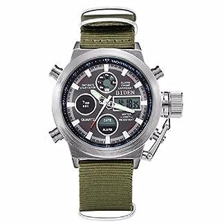 Herren-Sport-Digital-Armbanduhr-Analog-Quarz-Wasserdicht-Handgelenk-Uhren-fr-Herren-Olive-Leinwand-Militr-Chronograph-Wasserdicht-Armbanduhr