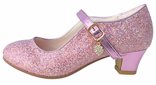 La Senorita ELSA Frozen Prinzessinnen Schuhe rosa mit kleines Herzchen Spanische Flamenco Schuhe (Größe 29 - Innenmaß 19 cm)