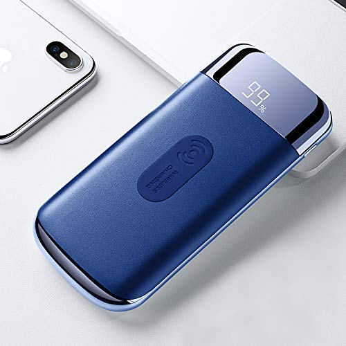 50000mAh Wireless Ladegerät Power Bank, 3IN1 Aufladen von 3 Geräten gleichzeitig (Blue)