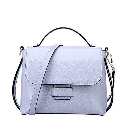 Dissa Q0865 Damen Leder Handtaschen Satchel Tote Taschen Schultertaschen Blau