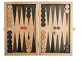 ROMBOL Backgammon, Kassette, 19 cm, Holz, Buche natur, Reisespiel