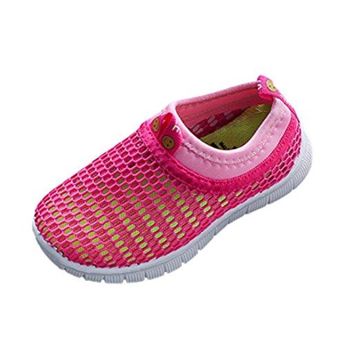 Jungen Mädchen Schuhe Kinder Jugendliche Süßigkeiten Farbe Stoff Mesh Beiläufig Weich Atmungsaktiv Elastisch Sport Turnschuhe (EU24, Rot) (Jordan Schuhe Größe 5)