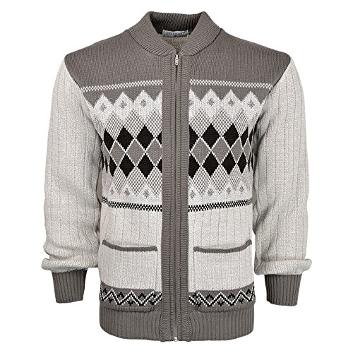 Mens Classic Style Cardigan Argyle Diamond Pattern Casual Design Zip Up Thick Knit Warm Winter Grandad Sweater Knitted V Neck Zipper Cardi Long Sleeve Knitwear Jumper With Pockets Size S-2XL