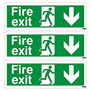 Pack of 3 x Fire Exit Down Arrow Emergency Escape Signs. 300mm x 100mm (Self Adhesive)