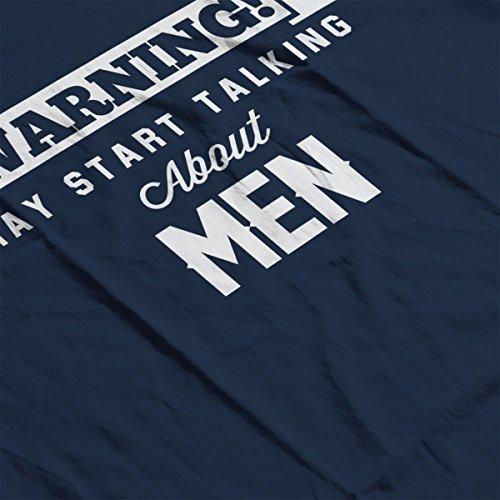 Warning May Start Talking About Men Men's Hooded Sweatshirt Navy blue