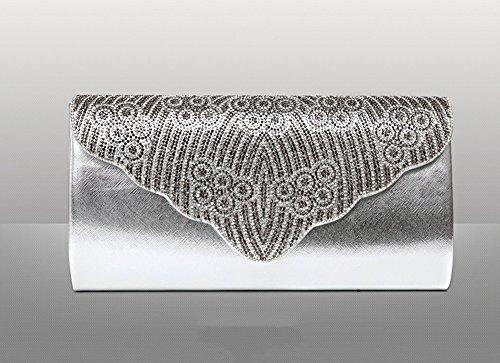 Handbeutel, Diamanthandgriffbeutel, Abendbeutel, Damepaket, Art und Weisepaket ( Farbe : Lila ) Silber