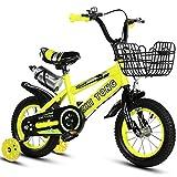 KY Vélo Enfants Enfants Vélo Enfant en Taille 16'18' 21'24' avec stabilisateurs et Panier, Bouteille d'eau (Color : Yellow, Size : 21inch)