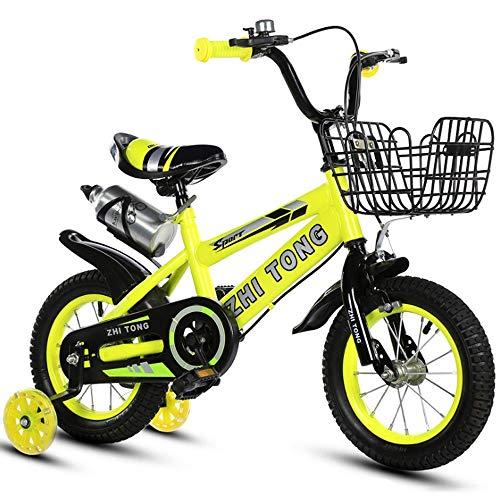 """Kinderfahrrad Kinder Kinder Bike In Größe 12"""" 14"""" 16"""" 18"""" mit Stabilisatoren und Basket, Wasserflasche (Color : Yellow, Size : 18inch)"""