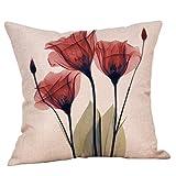 SO-buts Vintage Baumwolle Leinen Throw Kissenbezug Blume Kissenbezug Sofakissen Set Quadratischen Kissenbezug Dekoration (Ohne Kissen) (Ein)