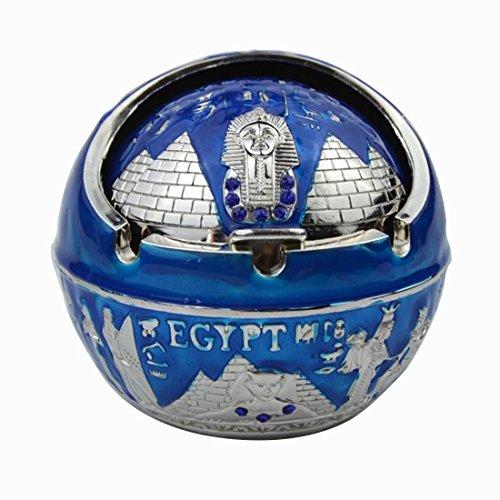 Klassisch Graviertes Ägyptisches Muster Metall Aschenbecher, Sphärischer Aschenbecher, Mit Deckel, Aschenbecher für Draußen (Silber+Blau) (Deckel Gravierte)