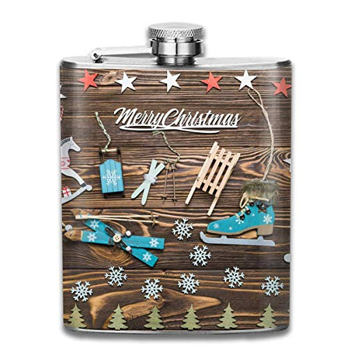 Rundafuwu Flask for Liquor7 Oz Stainless Steel Flask Portable Hip Liquor Flasks, Christmas Christmas Ornaments Mini Flagon,Leather Packaging Jug Flagon for Men Women Gift