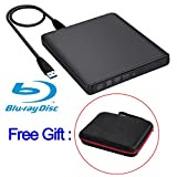 External Blu Ray Drive Biscon USB3.0 External DVD Blu Ray Writer Drive Blu Ray External DVD Disk Burner Player for Mac/PC/MacBook Pro AirWindows10/7/8