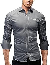 MERISH Slim Fit chemise homme, longue chemise chic et décontracté avec des contrastes couleurs avec poche poitrine style unique Modell 91
