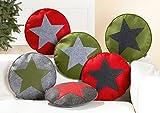 Filzsitzkissen rund, Sitzkissen Filz mit Stern Ø 40 cm von Gilde, verschiedene Farben, Rotes Kissen - schwarzer Stern