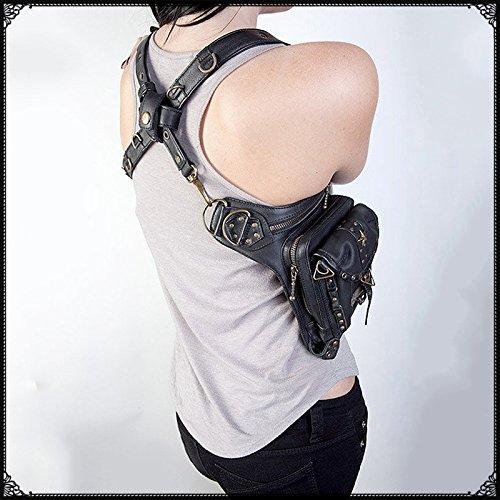 TTLCD Retro Rock Weinlese Gotische Steampunk Punk Männer Frauen Leder Schultertasche Taille Beinbeutel verpackt Geldbörse Motorrad Tasche SL007