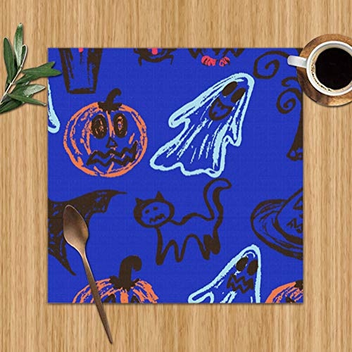 Placemats Set of 6,Halloween Collection Abstract Autumn Heat-Resistant Placemats Washable Table Mats for Kitchen Dining Table 12X12 Inch