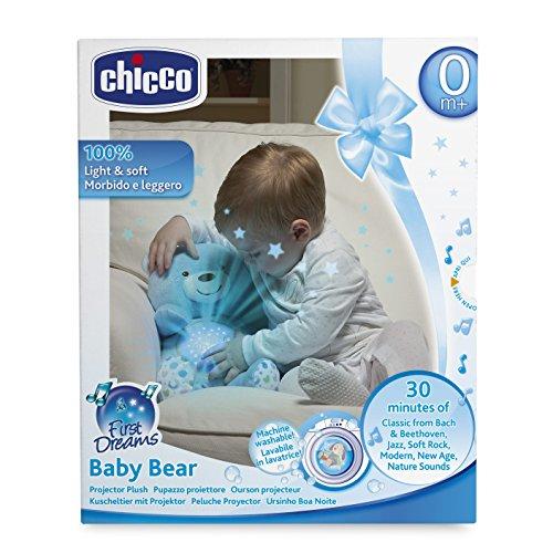 Chicco Baby Bär, Nachtlicht Projektor mit Farbwechsel und 30 Min. Musik, Plüsch-Teddybär, Babyspielzeug, hellblau - und, Projektor, PlüschTeddybär, Nachtlicht, Musik, mit, Min, hellblau, Farbwechsel, einschlafhilfe kleinkind, Chicco, Bär, Babyspielzeug, Baby