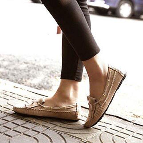 SUNAVY Damen Schmetterling Mokassins Ballerinas,2017 New Mädchen Komfortable Bow Loafers Slippers Halbschuhe Flach Fahren Schuhe(EU 34--EU 43) Aprikosen