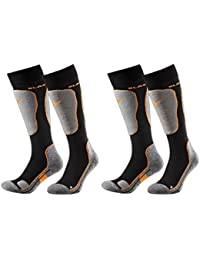 Black Crevice 2Pairs Ski Snowboard Socks with Cushioning Function/Unisex / 2Colours / 3Sizes Multi-Coloured