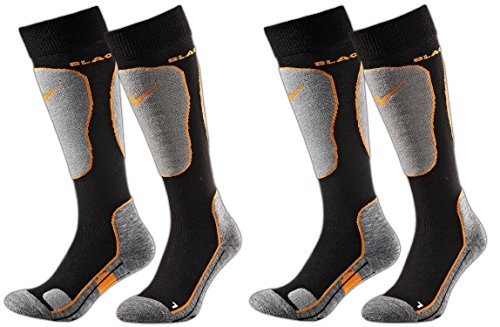 Black Crevice - 2 Paia di Calze da Sci, Imbottite, 2 Diversi volori, 3 Misure, Multicolore (Nero/Arancione), 43-46