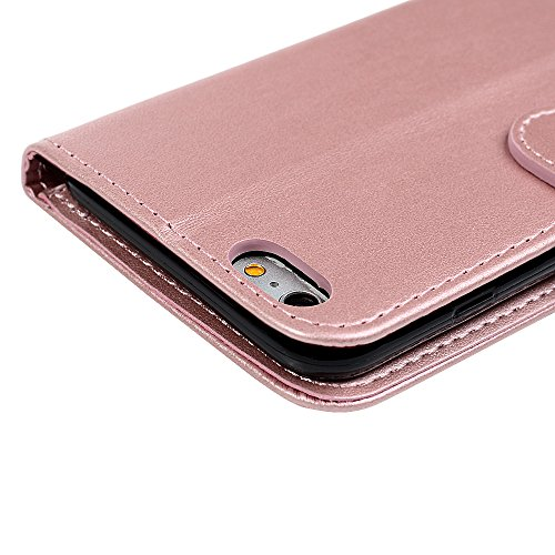 iPhone 6 Coque, iPhone 6S Coque, Bookstyle Étui Licorne Housse Imprimé en PU Cuir Case à rabat Coque de Protection Portefeuille TPU Silicone Case pour iPhone 6/ iPhone 6S - Rose Gold Rose Gold