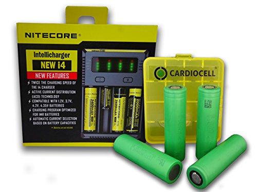 Galleria fotografica Nitecore New I4Intelli Charge Caricabatteria per batterie agli ioni di litio/IMR/Ni-MH/Ni-Cd 266502265018650184901835017670175001733516340RCR1231450010440AA AAA batterie AAAA batteria inclusa 4X SONY Konion vtc5a in robusto batteria scatola di Card iocell