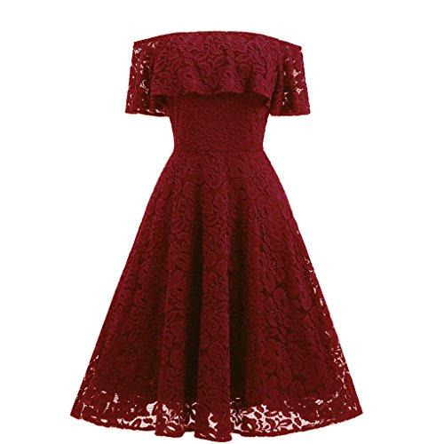 Frauen Kleid JYJM Schulter Kleid Schulter Spitzen Kleid Frauen Schulterfrei Spitze Sexy Flare Cocktail Party A-Linie Straps Ballkleid Kleid (M, Rot) (Waffel Knie-länge)