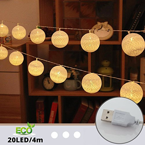 Cadena de Luces para Algodón Bola, Morbuy 4m USB Decorativas LED 20 Lámpara de Tira Bola Hada Noche Luz Para Bebe Casa Dormitorio Decoración Boda Fiesta De Cumpleaños Navidad (Blanco)