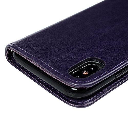 MAXFE.CO Schutzhülle Tasche Case für iPhone X PU Leder Flip Tasche Cover Prägung Schmetterling Muster im Ständer Book Case / Kartenfach Schwarz Lila