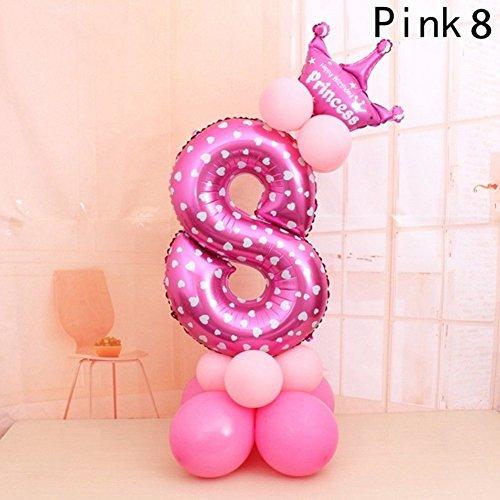 FEIDA Globos de papel de aluminio de 32 pulgadas con diseño de corona de helio, lunares, decoración para fiesta de cumpleaños de bebé Pink8