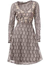 Linea Tesini Designer Sommerkleid Chiffonkleid Kleid weiß grün Neu