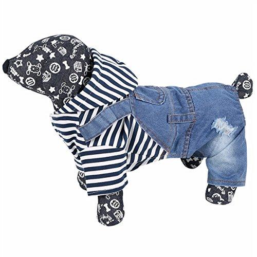 Katze Denim Shirt (iiniim Haustier Hund Katze Pullover 4 Beine Streifen T-Shirt Denim Hundemantel Hundekleidung XS-XXL Blau XS)
