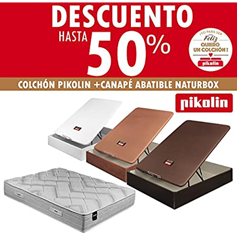 COLCHÓN PIKOLIN REGINA VISCO 32CM + UN CANAPÉ ABATIBLE PIKOLIN NATURBOX MADERA 3D 32CM-ENVÍO Y MONTAJE GRATUITO-DISPONIBLE EN COLORES: CEREZO, WENGUÉ Y BLANCO. DISPONIBLE EN TODAS LAS MEDIDAS. (Cerezo,