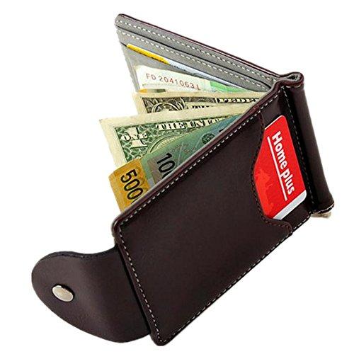 WOCACHI Herren Geldbörsen Ultra-dünne Leder-Geld-Clip dünne Mappen ID Kreditkarte Inhaber Geldbörse (Grau)