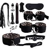 Xmansky SM Bondage 11 Stücke Set,SM Fesselset SM Sexspielzeug Extrem Betten Fesseln mit Handschellen mit Augenmaske für Paare Gays, für Einsteiger und Erfahr
