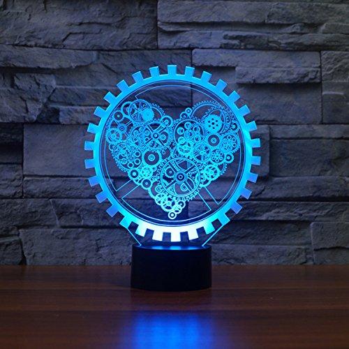 LED Nachtlicht,KINGCOO Magical 3D Visualisierung Amazing Optische Täuschung Touch Control Light 7 Farben ändern Schreibtischlampen für Kinderzimmer Home Decoration Best Geschenk (Liebe Gang) - 4