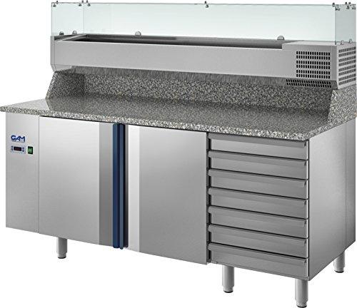 GAM Gastro Pizzakühltisch Kühltisch 200 cm breit 2 Türen 7 Schubladen Vitrine ***NEU***