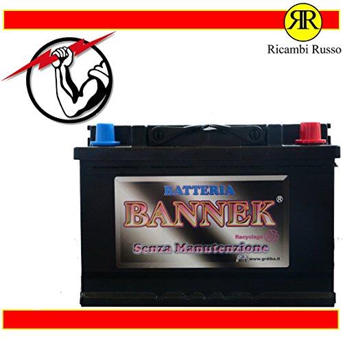 BATTERIA AVVIAMENTO AUTO BANNEK 74AH 640A = BOSCH 74AH 680A 0092S40080 (+) DX