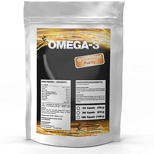 OMEGA-3 1000 mg | 500 Softgel-Kapseln Big Pack XL | Premium Lachsöl / Fischöl | Hochseefisch + Vitamin E, 18{37d2c47c3c0af86210666061ee7d02aab891bf4c55e910c92e5dc101278443bc} EPA / 12{37d2c47c3c0af86210666061ee7d02aab891bf4c55e910c92e5dc101278443bc} DHA | Gesunde Fettsäuren | Zum Fairen Preis