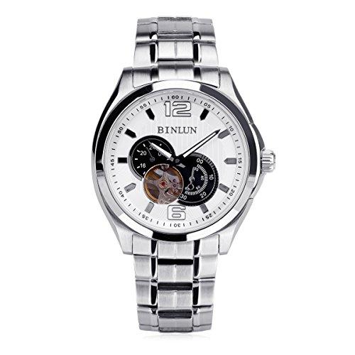 binlun da uomo analogico quadrante bianco argento Acciaio inossidabile giapponese impermeabile automatico meccanico orologio, diametro 1,53