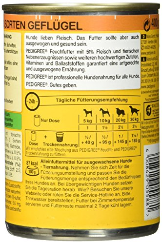 Pedigree Adult Hundefutter 3 Sorten Geflügel, 12 Dosen (12 x 400 g) - 4