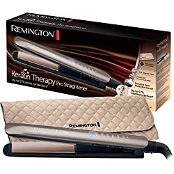 Remington S8590 Fer à Lisser, Lisseur Keratin Therapy Pro, Plaques Céramique Avancée, Chauffe Rapide, Lissage Professionnel, 5 Températures