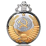 Golden Soviet Pocket Watch Symbol, Russian Style Gifts, Watches Silver Pocket Watcher for Men