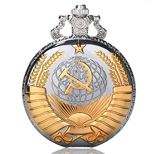 Golden Soviético - Reloj de Bolsillo, Regalo de Estilo Ruso, Relojes de Plata, Bolsillo...