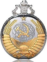 Golden sovietica simbolo Orologio da tasca, regali di stile russo, orologi Argento tasca Watcher per uomo