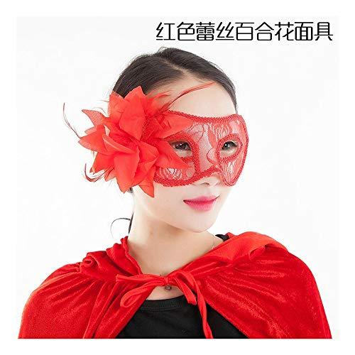 SCLMJ Halloween Gemalte Spitze Mit Federn Versehene Maskenmaske Für Maskerade, B