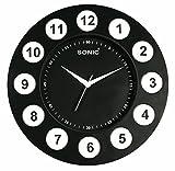 SONIC Black round Plastic Analogue Quart...